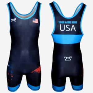 Customizable USA Freestyle Singlet- Black