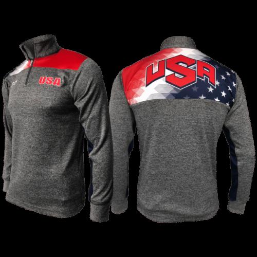 USA Freedom Quarter Zip - Heathered Box Stripe