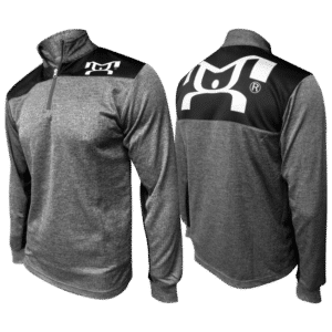 Black AOC Quarter Zip - Heathered Box Stripe