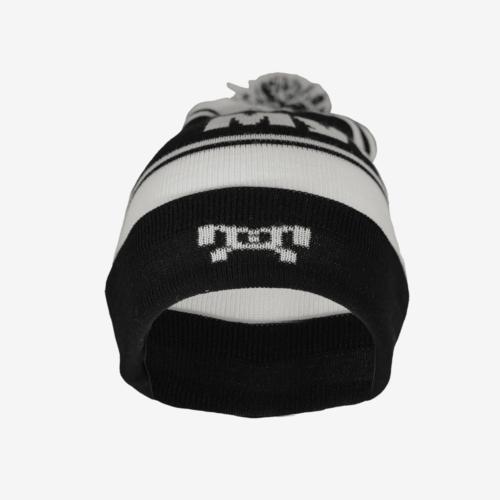 Black and white striped pompom hat F