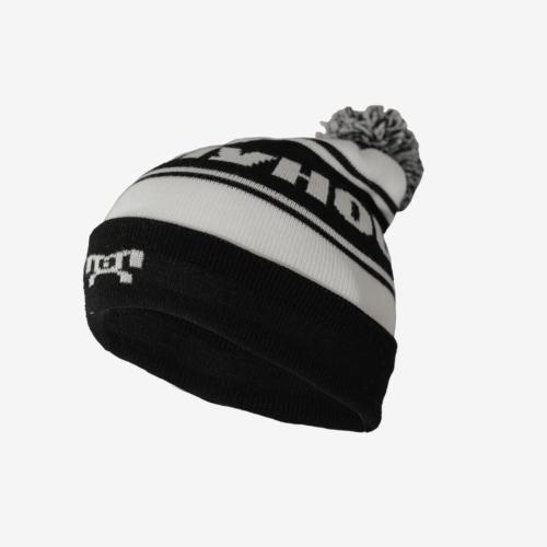Black and white striped pompom hat R