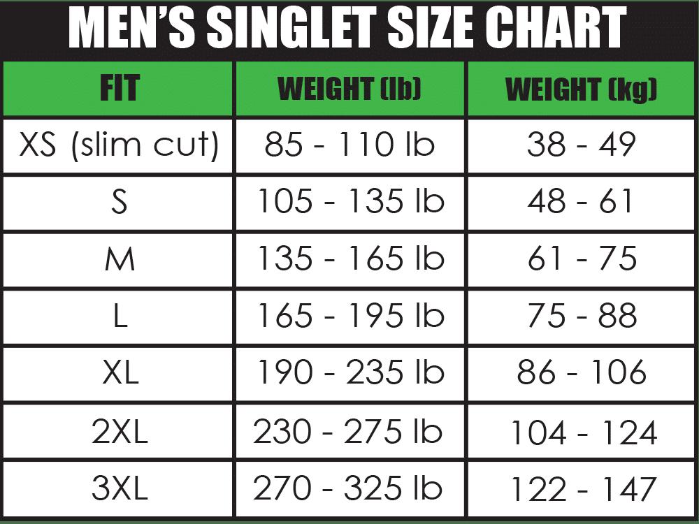 Mens singlet size chart