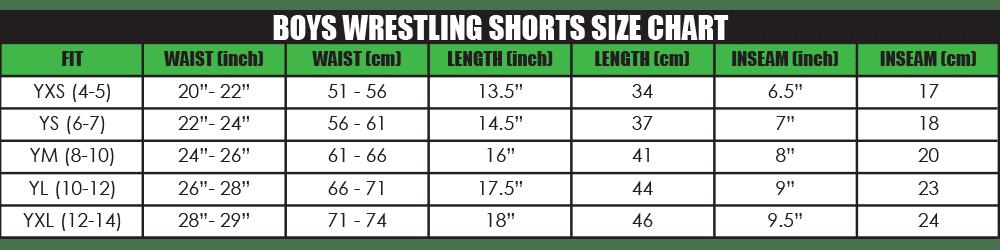 boys wrestling shorts size chart