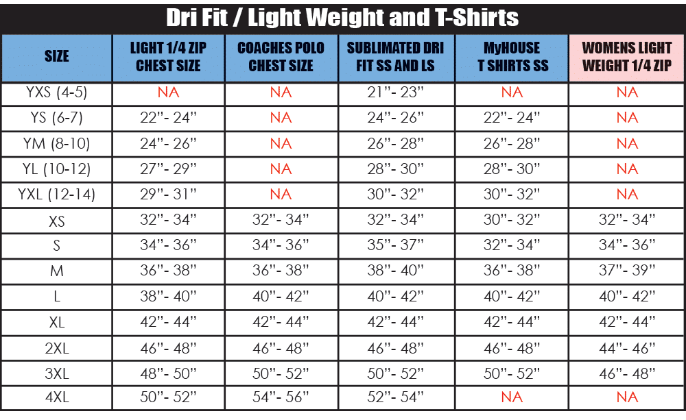 Dri fit_Lightweight_T-shirts_size_chart