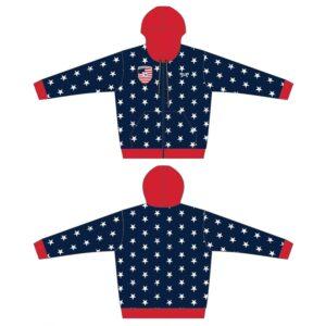 Elite Athletic Club Custom Navy Stars Full Zip Hoodie