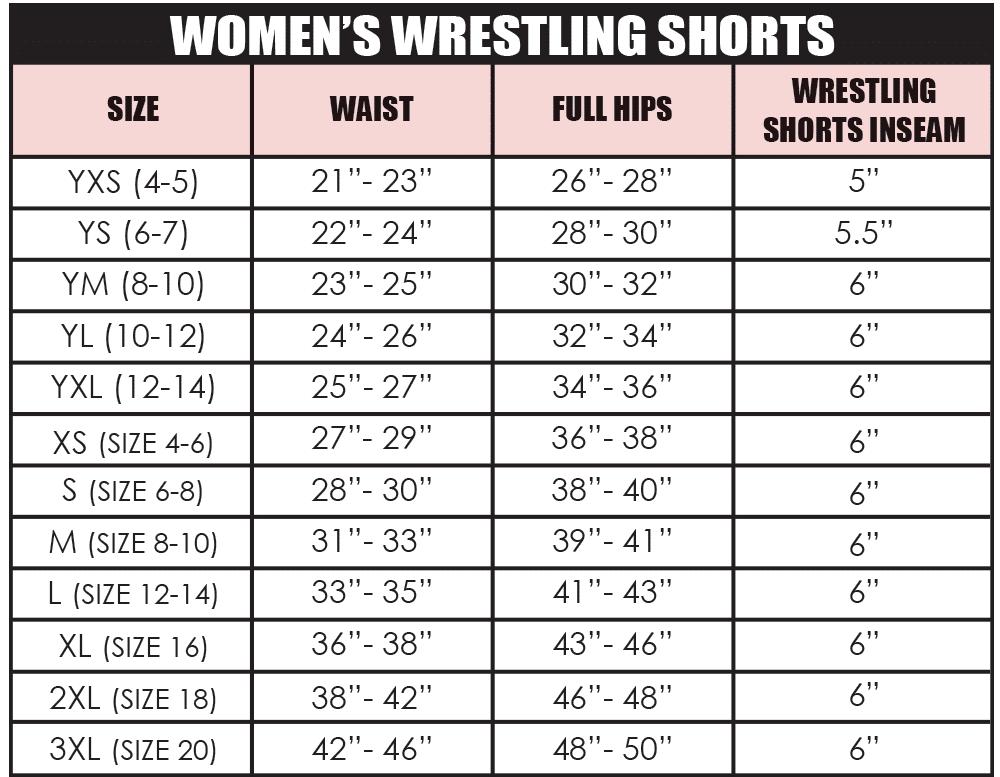 Women's Wrestling Shorts Size Chart